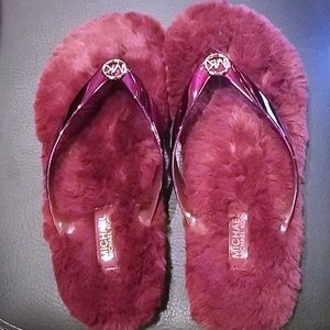 Women's New MK Fur Lined Flip Flops Size 6